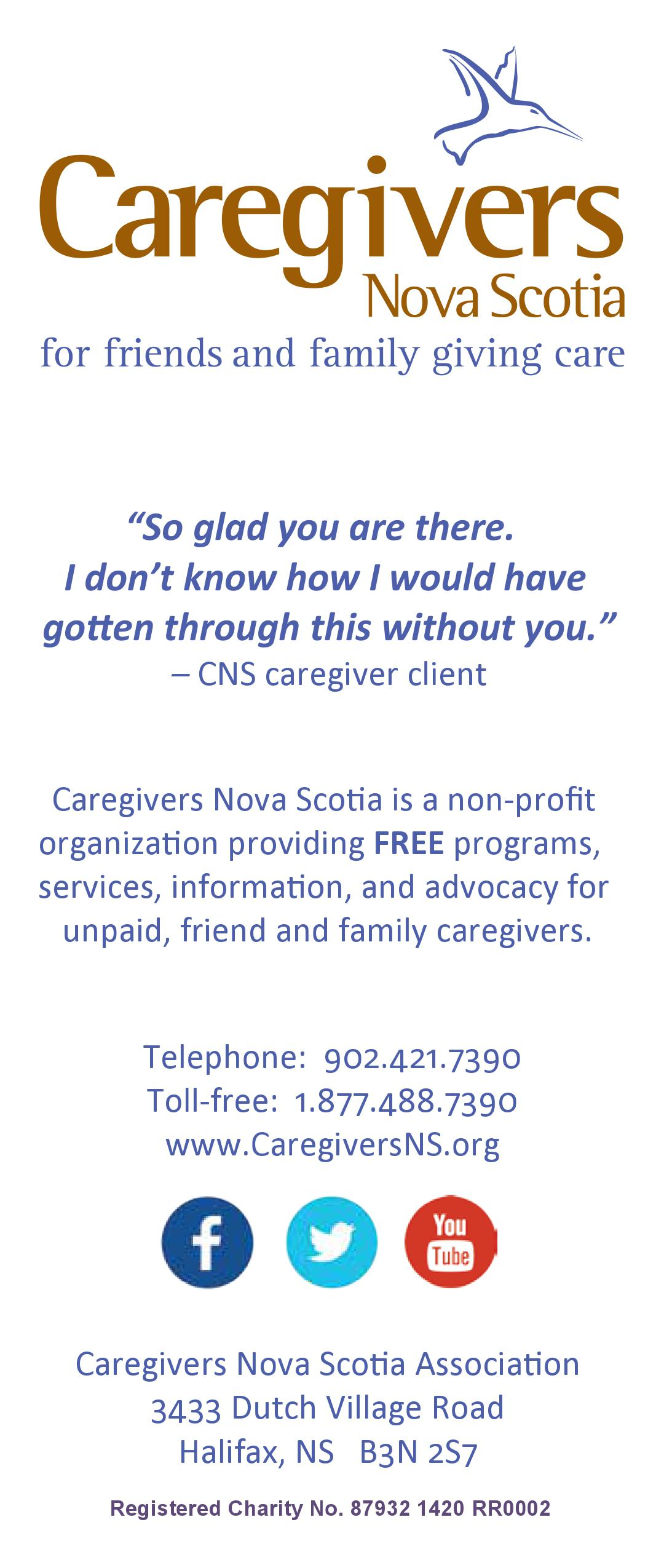 Caregivers Nova Scotia rack card